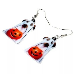 Acrylic Halloween Pumpkin Ghost Dog Earrings